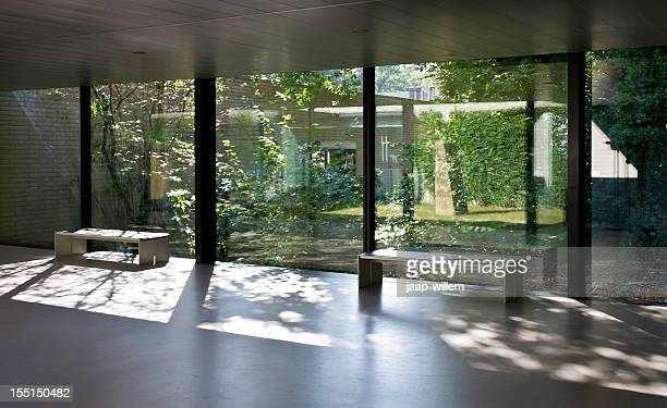 view on green courtyard - courtyard stock pictures, royalty-free photos & images