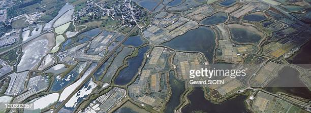 View on Guerande Brittany France Brittany aerial view of the salterns