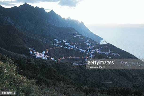 View on houses in mountains near ocean, Tenerife