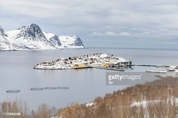 view on husøy, senja fishing village in øyfjorden in winter - remote location stock pictures, royalty-free photos & images