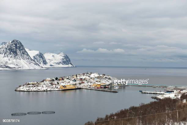 View on Husøy, Senja fishing village  in Øyfjorden in winter