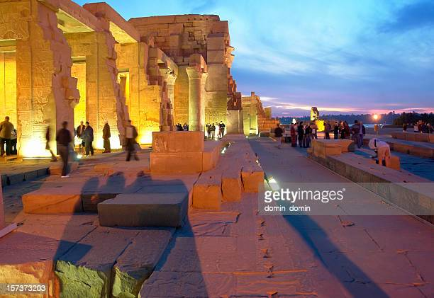 View on illuminated Kom Ombo Temple by night, Upper Egypt