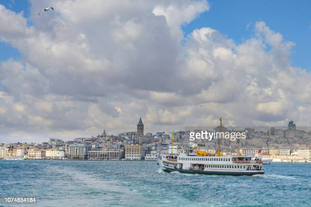 View on Istanbul seen from the Bosphorus with ferries