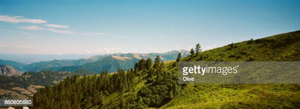 view on Italian Alps mountains of Maira Valley, Italy, August2017