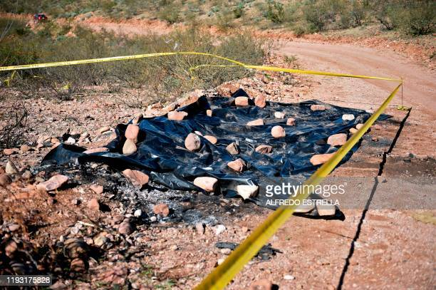 View on January 11 of the site where nine Mormon women and children were killed on November 4 in Galeana Chihuahua state Mexico Mexican President...