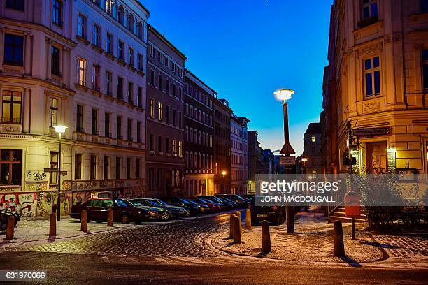 View on January 5 2017 shows the Fehrbellinerstrasse/Christinenstrasse intersection in Berlin's Prenzlauer Berg district / AFP / John MACDOUGALL