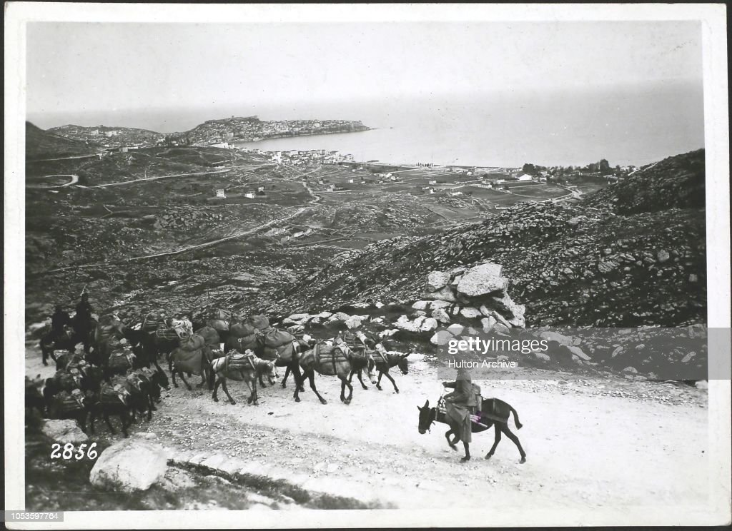 , View on Kavalla from road leading to Drama. Saloniki Front in Greece, Kavalla : News Photo