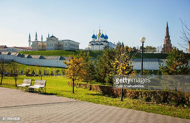 View on Kazan Kremlin objects - Kul Sharif mosque, Annunciation cathedral, Suumbike Tower