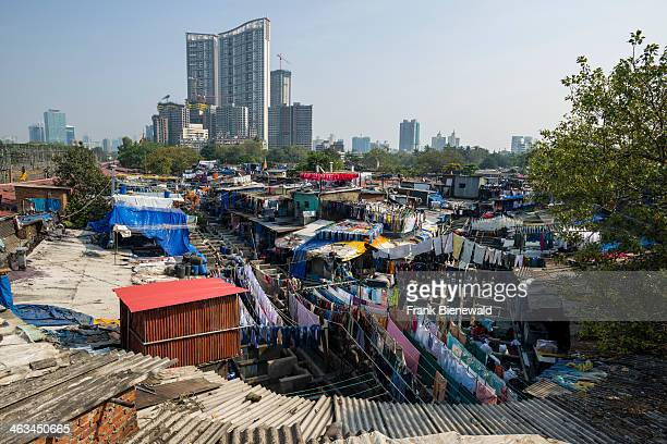 View on Mahalaxmi Dhobi Ghat the world's largest outdoor laundry About 5000 workers live and work here doing the laundry for Mumbai's residents and...