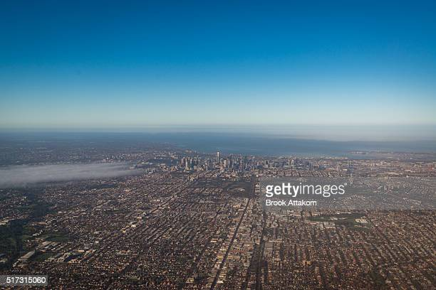 View on Melbourne city and distant suburbs.