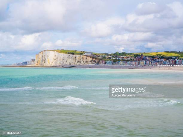 view on mers-les-bains from le treport, somme, france - somme stock pictures, royalty-free photos & images