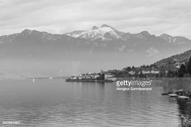 View on Montreux coastline from Geneva lake, Switzerland.