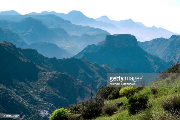 View on mountains from Roque Bentayga, Gran Canaria, Canary Islands, Spain