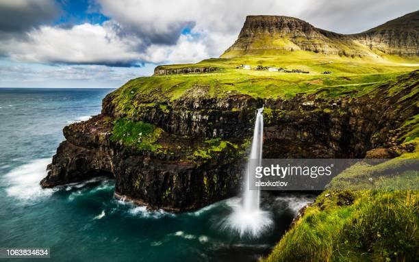 View on Mulafossur waterfall, Faroe Islands