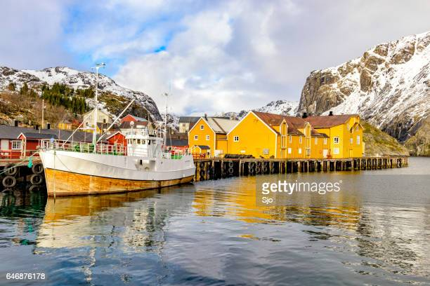 View on Nusfjord harbour in winter in the Lofoten in Norway