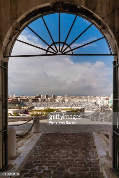 view on old port of marseilles - marseille stock pictures, royalty-free photos & images