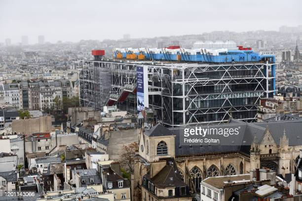 View on Paris from the Tour Saint-Jacques in the autumn. View on the center Beaubourg or centre Pompidou and the historic areas of Paris on November...