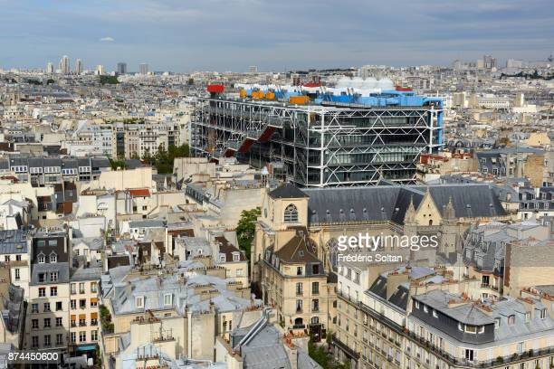 View on Paris from the Tour Saint-Jacques. View on the center Beaubourg or centre Pompidou and the historic areas of Paris, from the Tour St-Jacques....
