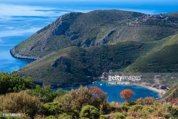 view on porto kagio, southern mani, peloponnese - franz aberham stock photos and pictures