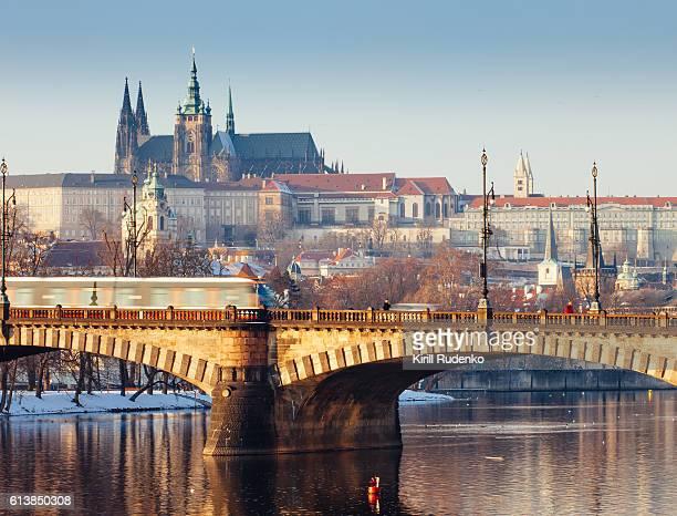 View on Prague castle and bridge, wintertime