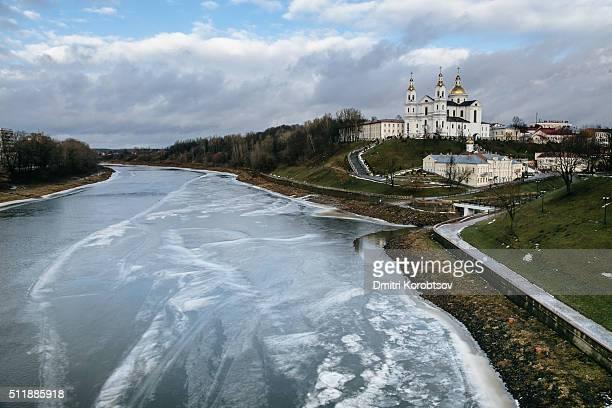 View on river Dvina and Assumption hill in Vitebsk, Belarus