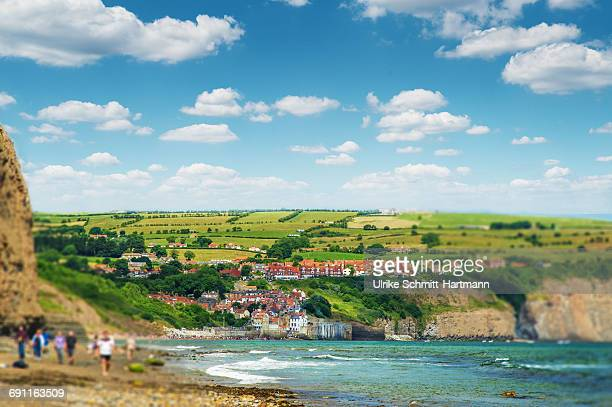 view on robin hood's bay, north yorkshire - north yorkshire stock pictures, royalty-free photos & images