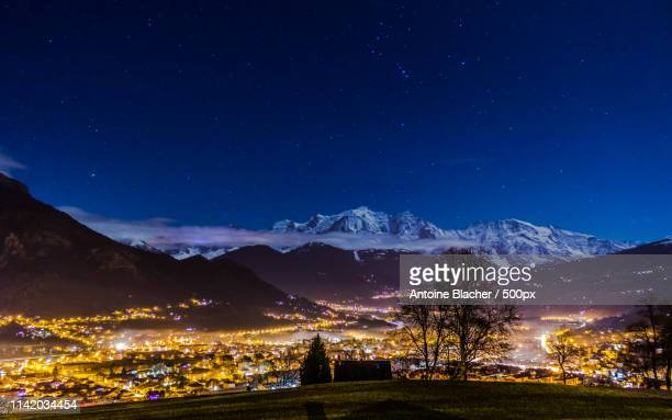 view on sallanches and le mont-blanc - sallanches stock pictures, royalty-free photos & images