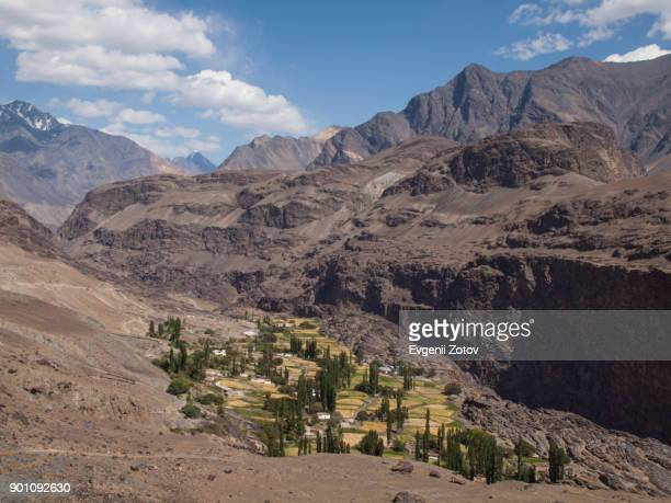 View on Savnob village in Bartang valley in the Pamirs, Tajikistan