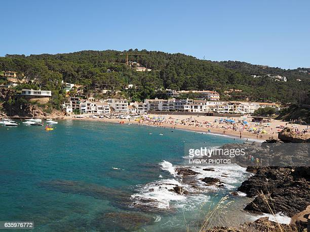 View on sea, beach and hotels Sa Riera, Begur