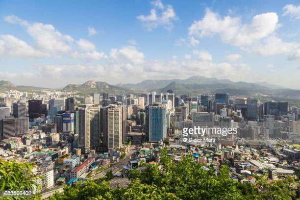View on Seoul business district skyline from Namsan in South Korea