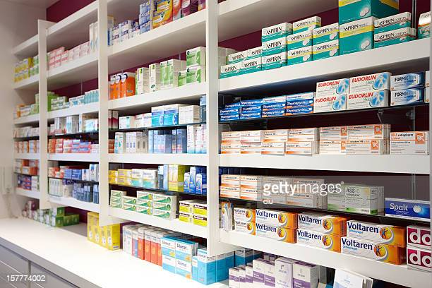 View on shelves in the sales room of a pharmacy