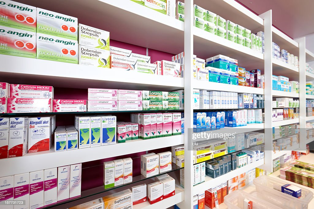 View on shelves of a pharmacy : Stock Photo