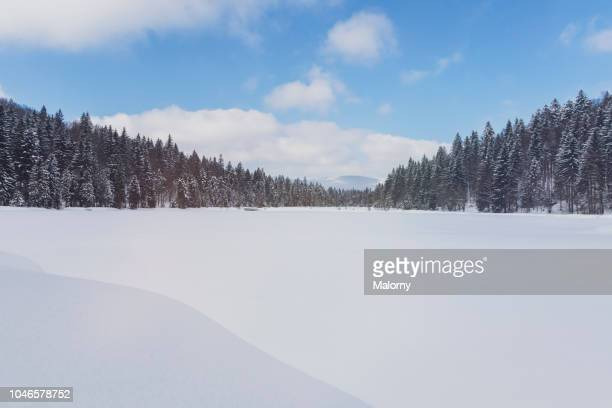 view on snow covered valley. - snow background stock photos and pictures