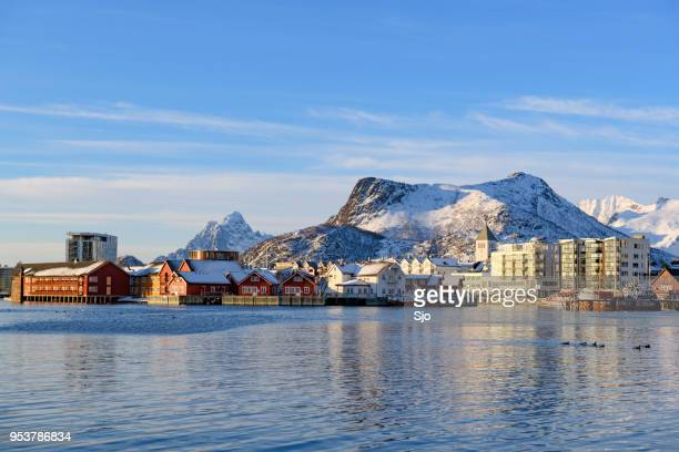 View on Svolvaer on the Lofoten islands in Northern Norway during winter