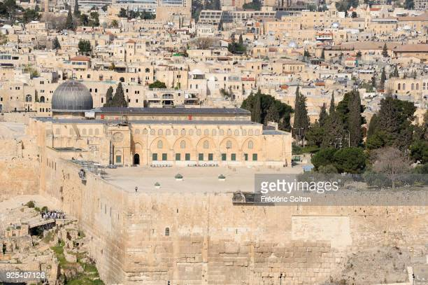 View on the AlAqsa Mosque aka AlAqsa and Bayt alMuqaddas on the esplanade of the Mosques from the Mount of Olives in the Old City of Jerusalem in the...