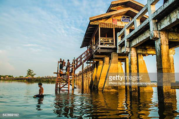 view on  the boat look up to U bein bridge
