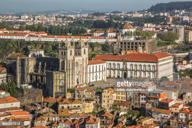 view on the cathedral of oporto - cathedral stock pictures, royalty-free photos & images
