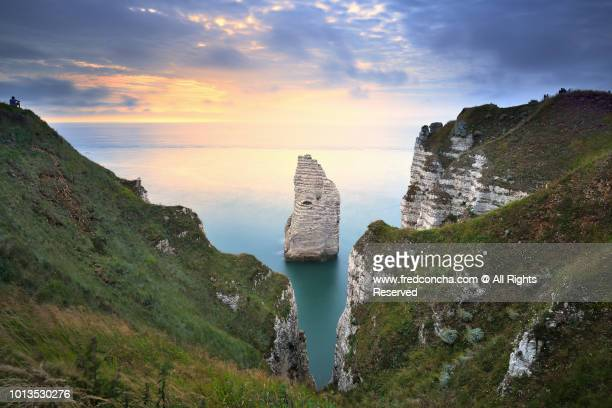 View on the cliffs d'Aval at sunset, Etretat, Normandy, France.