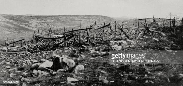 View on the Debelivrk ridge with the AustroHungarian positions Karst region Italy World War I photo by Aldo Molinari from L'Illustrazione Italiana...