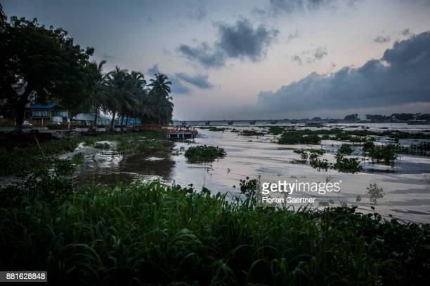 View on the Ebrie Lagoon on November 28 2017 in Abidjan Ivory Coast