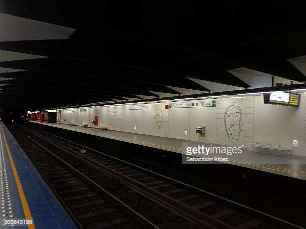 CONTENT] A view on the empty track of the recently renovated subway station of Maelbeek/Maalbeek in Brussels in the European Quarter Belgium...