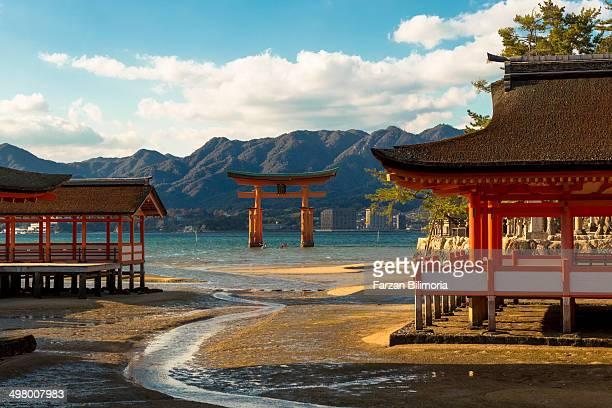 View on the famous floating torii gate at Itsukushima Shrine, on Miyajima/Itsukushima, in south western Japan.