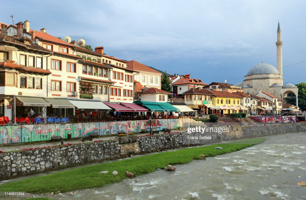View on the historic city of Prizren on the banks of the Bistrica river, Kosovo : Stock Photo