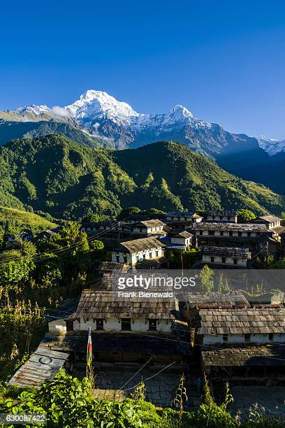 View on the historical village with the mountains Annapurna South , Himchuli in the distance at sunrise.