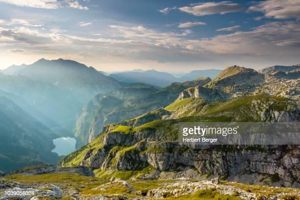 view on the lake obersee, above the hagen mountains, left the watzmann, berchtesgaden alps, schoenau am koenigsee, berchtesgaden national park, berchtesgadener land, bavaria, germany - berchtesgaden national park stock photos and pictures