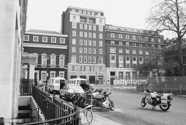 A view on the Libyan People's Bureau in St James's Square where Yvonne Fletcher was fatally wounded by a shot by an unknown gunman London UK 19th...