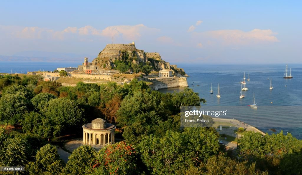 View on the Maitland Rotunda and the old fortress, Corfu, Greece : Stock Photo