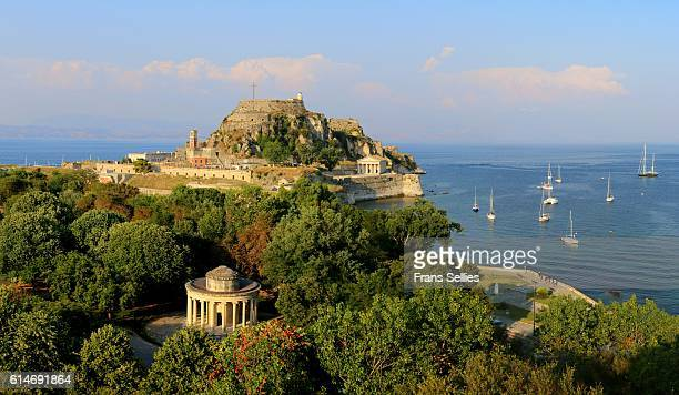 View on the Maitland Rotunda and the old fortress, Corfu, Greece