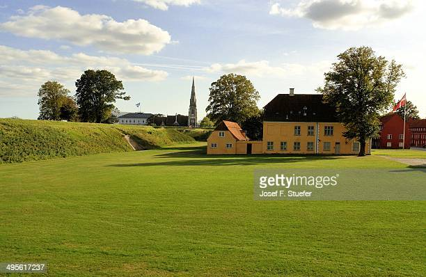 View on the meadow, dyke and building of the Kastellet in Copenhagen, Denmark, Europe.