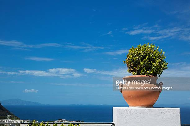 View on the Mediterranean sea from a terrace on the island of Capri, Campania, Italy